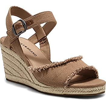Lucky Brand Mindra Women s Frayed Canvas Espadrille Wedge Sandal Tan Size 8.5