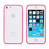 iPhone 6 Case, New iPhone6 Bumper Case Cover [Hot Pink], tekSonic [Candy Trim Series] - [1.5mm Slim Fit] [Shock Absorption] Soft TPU Jelly Silicone Bumper with Frosted Clear/Transparent Hard Back Cover Case for Apple iPhone 6 (4.7 inch) (Hot Pink)