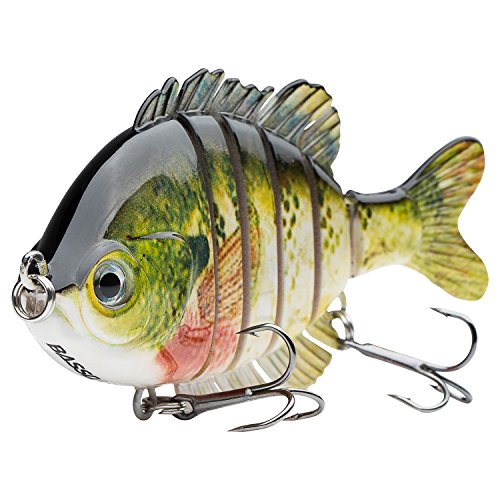 Bassdash SwimPanfish Multi Jointed Panfish Bluegill Swimbaits Topwater Hard Bass Fishing Crank Lure 3.5in/0.85oz, 4 Colors (Bluegill)