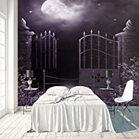 3D大型ウォールステッカー 紫の夜空 巨大ポスター 壁用ステッカー不織布カスタマイズ可能なサイズHDプリント取り外し可能 テレビ背景写真壁画家の装飾 120X100cm (47X39inch)