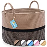 OrganiHaus Cotton Rope Large Blanket Basket   Woven Laundry Basket for Blankets Living Room   Nursery Basket for Toys   Large Baskets for Blankets  Brown Baskets for Storage (20x13) Brown Basket