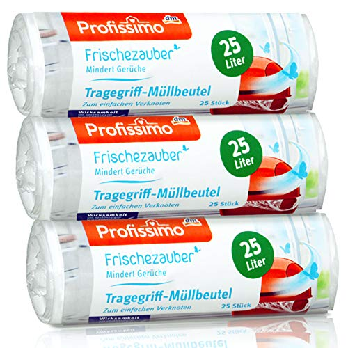 Profissimo Frischezauber Tragegriff Müllbeutel 25 Liter (75 Stück) - 3er Pack (3 x 25 Stück) mindert Gerüche reißfest und flüssigkeitsdicht