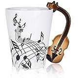 LanHong - 400ml Novelty Violin Mug Ceramic Coffee Milk Cup with Handle