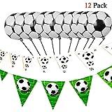 Hemore Dekorations-Ballon Set 12 / Set Fußball Alu 10 / Fussball Set schwarz und weiß 1 / Set Fußball Wimpel schwarz/weiß grün 1 / Set für die Dekoration von Hochzeitstag/Geburtstag /...
