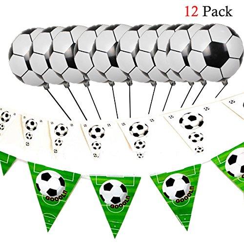 Hemore Fußball Dekoration Set 12 / Set Fußball Aluminium Ballon 10 / Set Fußball Wimpel schwarz und weiß 1 / Set Fußball Wimpel schwarz und weiß grün 1 / Set Dekorativer Ballon für Hochzeitsfest-