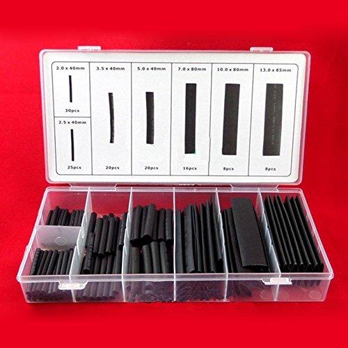 127 piezas-conjunto, negro TOOGOO 381 unids tubos termocontraibles a prueba de intemperie pegamento negro mangas cola pegamento surtido kit