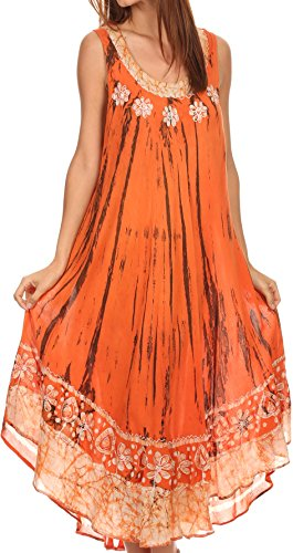 Sakkas 15009 - Alexis gesticktes langes ärmelloses BlumenCaftan Kleid/Cover Up - Burnt Orange - OS