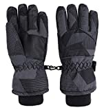 Lullaby Kids Windproof Youth Winter Ski Snow Snowboard Riding Ski Gloves, Black Stripes, L(10-12Y)