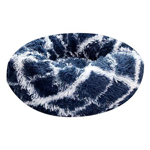 Dog Pillow  Pet Nest Warm Soft Plush Sleeping Bed Pad Kennel Breathable Dog Cat House-Dark Blue40CM -