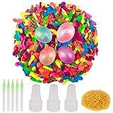 1000 piezas globos de agua Bomba de sellado automático de látex Globos de agua Bomba con anillo de goma 1000 3 Boquilla 5 herramientas para niños adultos Bomba de agua al aire libre Juegos de lucha