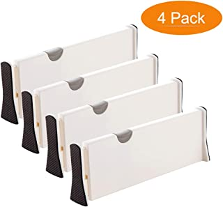 Adjustable Drawer Dividers, Astory 4-Pack Organizer Separators Expandable Dresser Drawer Organizers Tray Organizer with Anti-Scratch Foam Edges for Kitchen, Bedroom, Bathroom & Office Drawers