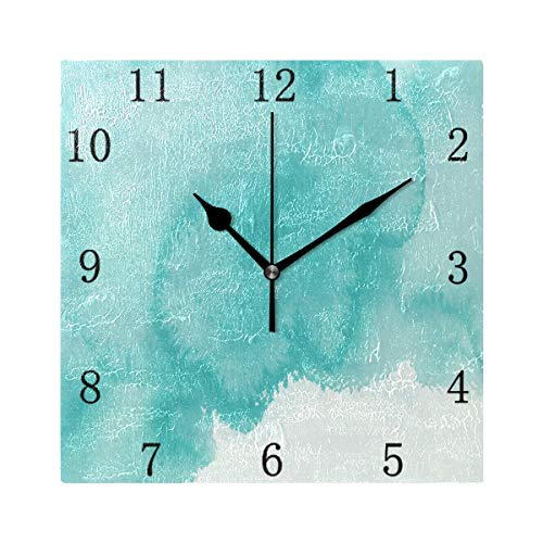 One Bear Vintage Teal Wall Clock Turquoise Green Watercolor Texture Silent Non Ticking Battery Operated Square Clock for Kitchen Home Office School Quiet Desk 7.9 Inch