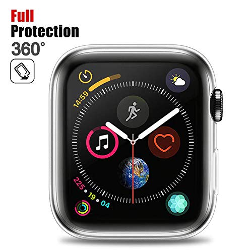 Chok Idea Case Compatible with Apple Watch 44mm Protettore,360° Full Copertura Protezione Bumper Circondare Sweatproof TPU Custodia Case Cover Replacement for iWatch Apple Watch 4,Transparent