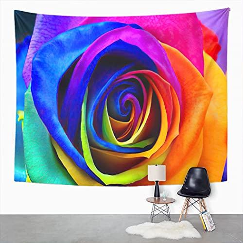 Y·JIANG Tapiz azul, multicolor rosa flor arco iris pétalos de colores divertido flor para dormitorio del hogar, tapiz grande, manta para colgar en la sala de estar, dormitorio, 80 x 60 pulgadas