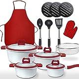 Gridinlux   Set de Cocina Blanca Premium   22 Piezas   4 Tapas de Vidrio Templado   Aleación de Aluminio   Base Multisuperficie incluida HORNO (Rojo)