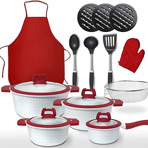 Gridinlux | Set de Cocina Blanca Premuim | 22 Piezas | 4 Tapas de Vidrio Templado | Aleación de Aluminio | Base Multisuperficie incluida HORNO (Rojo)
