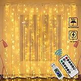 Cortina de Luces LED USB, Zorara 3x3 m 300 LEDs 8 Modos Cortinas de Luz Impermeable Cadena Luz de Cortina Blanca Cálida para Bodas, Casa, Jardín, Decoración Navidad [Clase de eficiencia energética A]