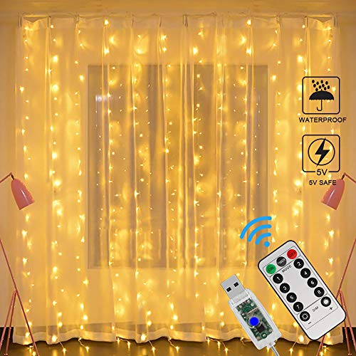 Cortina de Luces LED USB, Zorara 3x3 m 300 LEDs 8 Modos Cortinas de Lu