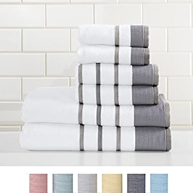 Great Bay Home 6-Piece Luxury Hotel/Spa 100% Turkish Cotton Striped Towel Set, 500 GSM. Includes Bath Towels, Hand Towels and Washcloths. Noelle Collection By Brand. (Dark Grey/Light Grey)