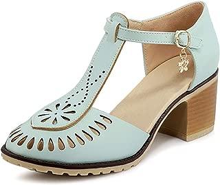 Catata Women Summer T-Shape Closed Toe Flats Hollow Buckle Sandals Blue Size: 9.5