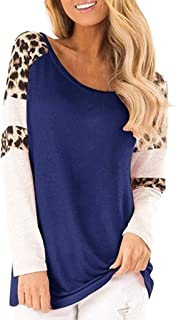 😍 Leopard Color Block Tunic Comfy Stripe T Shirt Women's Tops Long Sleeve Lace Trim O-Neck A-Line Tunic Tops