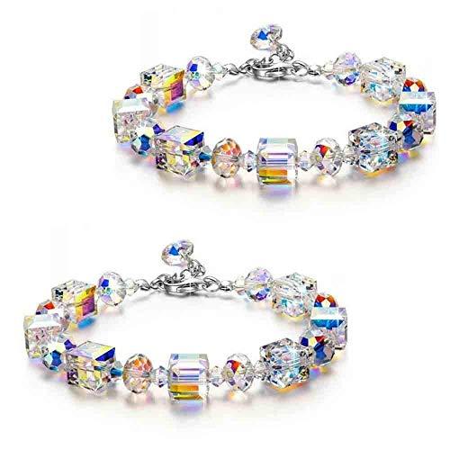 LUCKYYL Pulsera de Cristal Northern Lights, Cristal Cuadrado, Exquisito, Pulsera de Moda, joyería de Cristal, Regalo, joyería