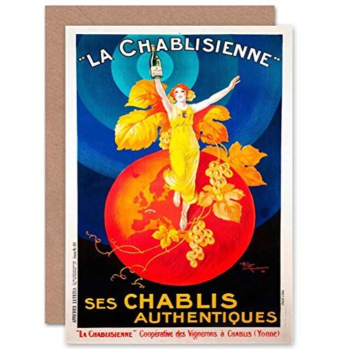 Wee Blue Coo ADVERT CHABLIS WIJN FRANCE ISTIC BIRTHDAY BLANK GREETINGS CARD