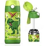 JARLSON® Trinkflasche Kinder - TÜV geprüft - Thermo Edelstahl Wasserflasche 350ml - BPA frei - auslaufsicher - Kinderflasche mit Strohhalm - Flasche für Schule, Kindergarten (Dinosaurier)