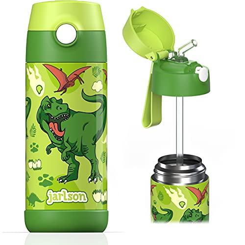Jarlson Borraccia Bambini Acciaio Inox, Bottiglia Termica, Senza BPA, Bottiglia Acqua con Cannuccia, Termos 350 ml (Dinosauro, 350)