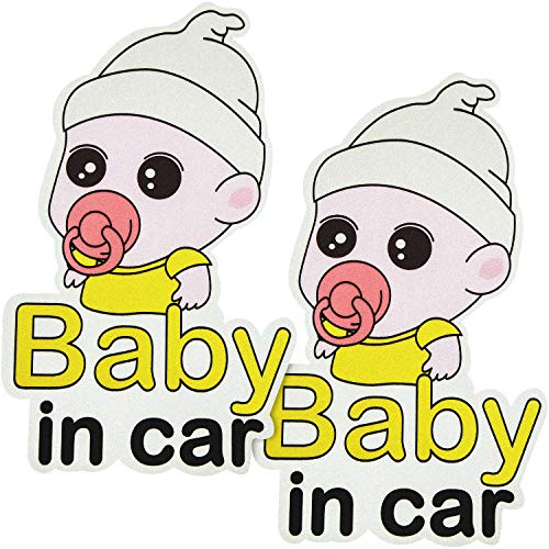 2 Stücke Baby Board Zeichen Baby in Car Aufkleber Baby Sicherheitsschild Fenster Auto Aufkleber Baby Auto Stoßstange Abziehbild Reflektierende Kinder Sicherheit Warnung Auto Fenster