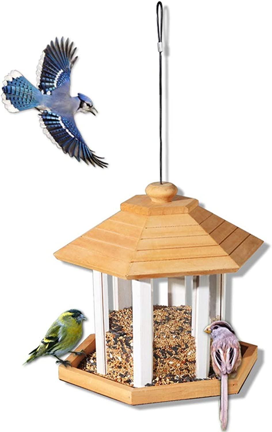 MXueei ZfgG Hanging Wildbird Table Feeder, Wild Bird Wooden Seed Feeding Station