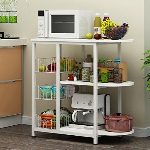 LITINGMEI Shelf Küchenregale Boden mehrstöckigen Home Storage Lagerung Mikrowelle Regal Gewürze Ofen Rack 80 * 77 cm (Farbe : Weiß)
