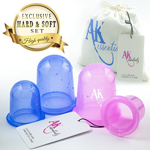 A&K Hard & Soft Anti Cellulite Cup - Silicone Vacuum Massage Therapy Suction Cups - Set of 4 (2 Large + 2 Medium) Cupping Set for Cellulite Remover & Body Massage Treatment