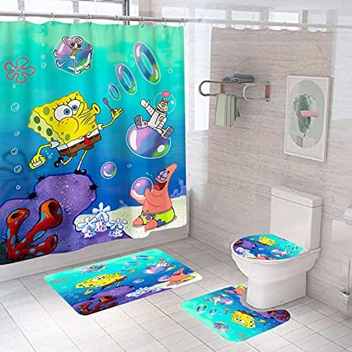 ZYXP 4 PCS Spongebob Shower Curtain Sets with Non-Slip Rug,Toilet Lid Cover,Bath Mat,12 Hooks,Spongebob Square Pants Waterproof Shower Curtains with Rug Set for Bathroom Decor,70.8''