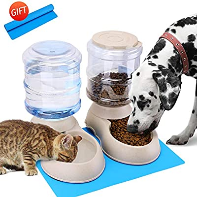 Automatic Cat Feeder and Water Dispenser in Set with Pet Food Mat for Small Medium Dog Pets Puppy Kitten Big Capacity 1 Gallon x 2 (1 Gallon2)