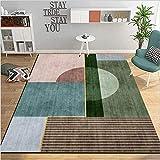 makeups17 alfombras Modernas Grandes Alfombra Interior Y Exterior fácil Mantenimiento Ideal para salón, Cocina,Costura geométrica Verde Azul Rosa marrón Gris 160X230CM(5.5ft x 7.5ft)
