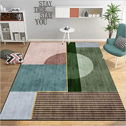 makeups17 alfombras Modernas Grandes Alfombra Interior Y Exterior fácil Mantenimiento Ideal para salón, Cocina,Costura geométrica Verde Azul Rosa marrón Gris 120X170CM(4ft x 5.6ft)