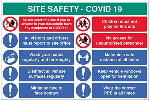 Site Safety COVID19 - Informe a la oficina, lavado las manos, desinfecte superficies, minimice el contacto cara a cara, etc. 4 mm acanalado 900 x 600 mm