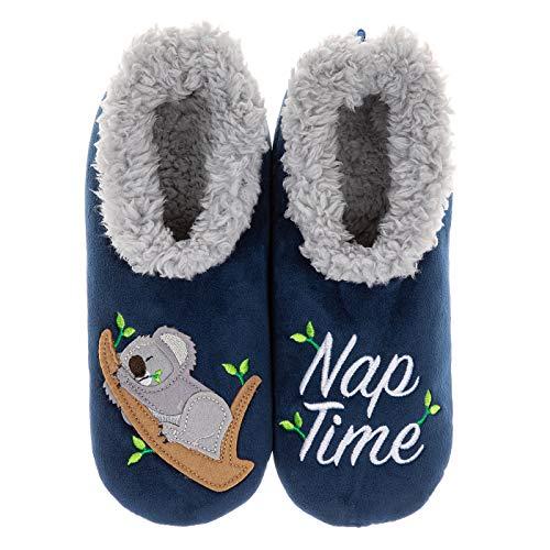 Snoozies Pairables Superweiche Sherpa Damen Hausschuhe – Nap Time, Blau - marineblau - Größe: Small