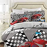 QIAOQIAOLO Kids Decor Bedding Sets Twin, Race Car with Finish Line Flags Pilot and Flames with Abstract Gray Background (1 Duvet Cover + 2 Pillowcases) Soft Bedding Multicolor