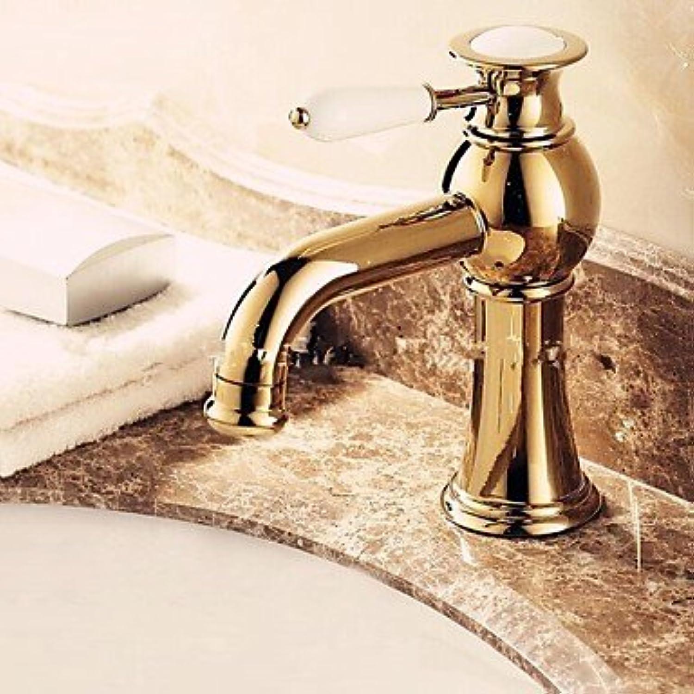 ZULUX Tmaker- Luxus im europ¤ischen Stil Goldenen Schuss ein Loch einer Keramikgriff Waschbecken Wasserhahn
