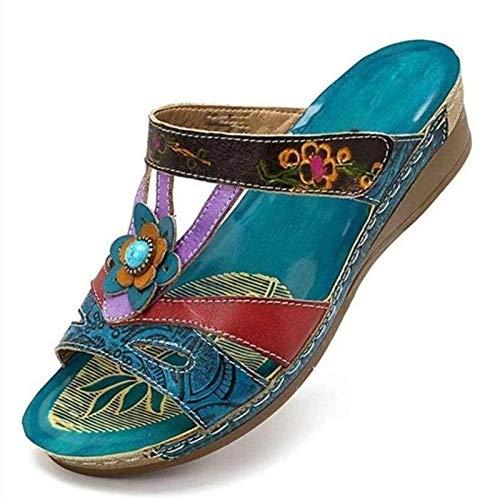 ZJMM Azul Verano Zapatos De Mujer Sandalias Tallas Grandes Zapatillas De Playa para Mujer Viento Nacional Mujeres Flores Sandalias De Tacón Plano 43