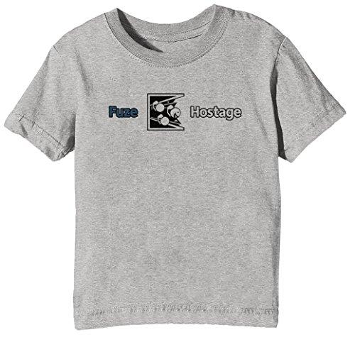 Dont Fuze The Hostage! Bambini Unisex Ragazzi Ragazze T-Shirt Maglietta Grigio Maniche Corte Dimensioni S Kids Boys Girls Grey Small Size S
