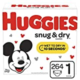 Huggies Snug & Dry Diapers, Size 1 (8-14 lb.), 264 Count, One Month Supply...