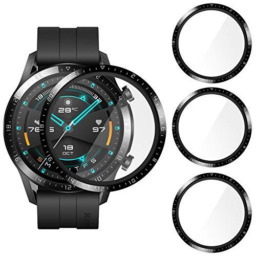 CAVN 3D Cover Kompatibel mit Huawei Watch GT 2 46mm Schutzfolie Mit Skala [3-Stück], (Nicht für 42mm /GT 2e) Vollabdeckung 3D-Gebogene Bildschirmschutzfolie Anti-Kratzer Panzer Bildschirmschutz Schutzhülle
