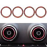 Auto Styling Klimaanlage Belüftung Aluminiumlegierung Ring Dekoration Aufkleber für A3 S3 2013-2016 (Rot)