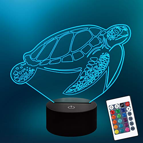 Turtle Kids 3D Night Light for Kid, Optical Illusion Lamp with 16 Colors Changing Remote Control Sea Theme Bedroom Decor Best Birthday Xmas Gift Idea for Boy Girl Baby
