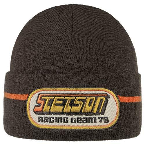 Stetson Racing Beanie Damen/Herren - Lässige Vintage-Beanie - Unifarbene Mütze in Einheitsgröße (ca. 56-60 cm) - Bequeme Passform - Frontales Logo-Stitching - Herbst/Winter braun One Size