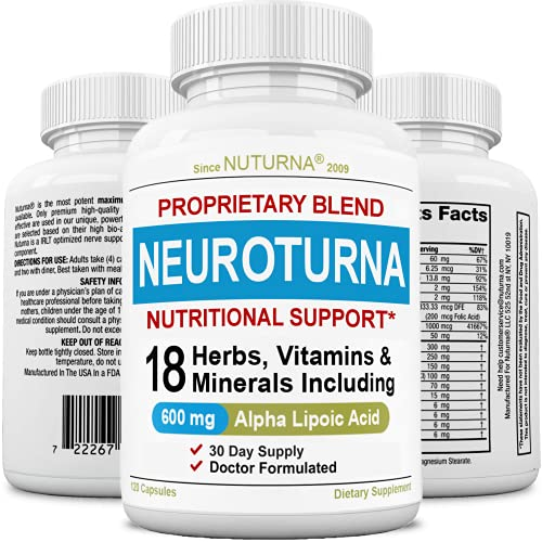 Neuroturna Support Supplement with 600 mg Alpha Lipoic Acid Daily Dose - Peripheral Neuropathy - Feet Hand Legs Toe Support Formula with 18 Premium Ingredients* - 120 Caps 30 Day Supply