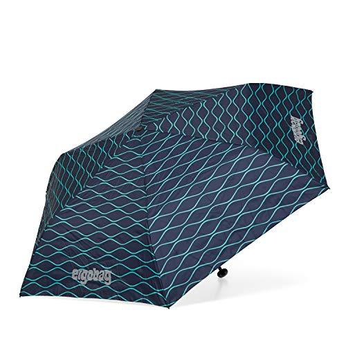 ergobag Regenschirm - Schultaschenschirm für Kinder, extra leicht mit Tasche, Ø90cm - BlubbBär - Blau
